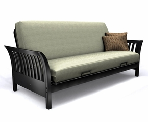 Futon Frame - Florenzia Full Size Metal Wood Futon in Black Lacquer - 35-6614-050