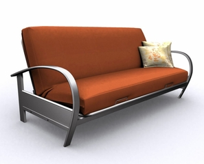 Futon Frame - Full Size Evolution Futon in Pewter Metal - 35-4914-066