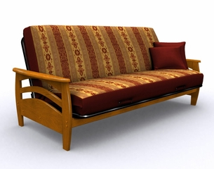 Futon Frame - Montego Full Size Metal Wood Futon in Honey Oak - 35-3814-010