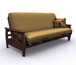 Futon Frame - Montego Full Size Metal Wood Futon in Walnut - 35-3814-003