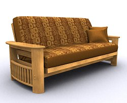 Futon Frame - Portofino Full Size Metal Wood Futon in Golden Oak - 35-0814-002