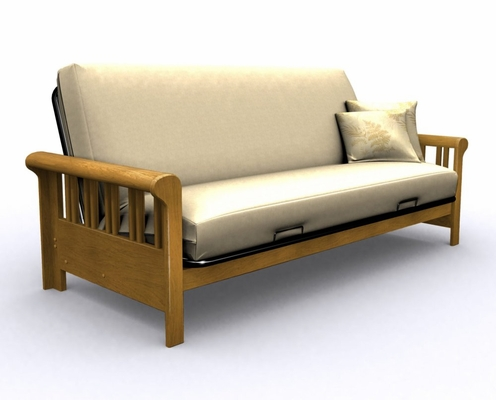 Futon Frame - Renaissance Full Size Metal Wood Futon in Medium Oak - 35-2114-008