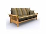 Futon Frame - Santa Barbara Full Size Metal Wood Futon in Golden Oak - 35-0414-002