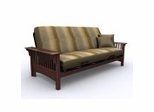 Futon Frame - Santa Barbara Full Size Metal Wood Futon in Walnut - 35-0414-003
