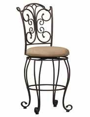 "Gathered Back Counter Stool 24"" - Linon Furniture - 02790MTL-01-KD-U"