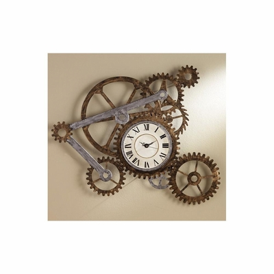 Gear Wall Art with Clock - Holly and Martin