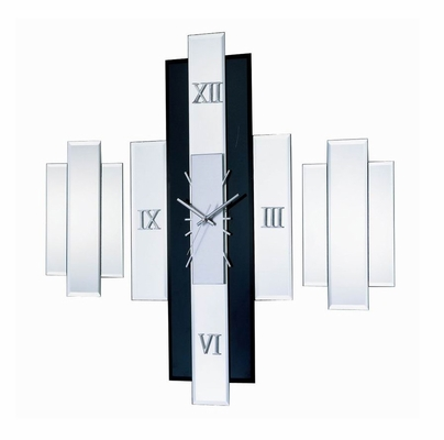 George Nelson Diamond Mirror Clock Set in Clear / Black - 1868-3