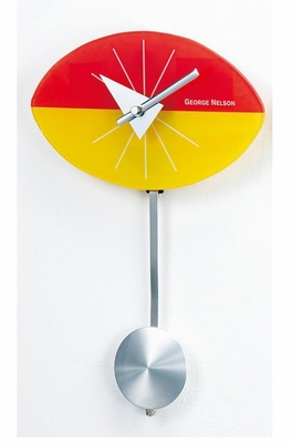 George Nelson Glass Oty Parity Pendulum Clock in Orange / Yellow / Silver - 1437P