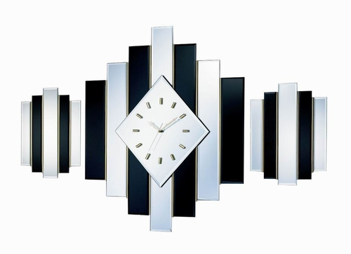 George Nelson Large Diamond Beveled Mirror Clock Set - 1058S