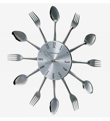 George Nelson Real Spoon and Fork Starburst Wall Clock - 1234SPOON-16