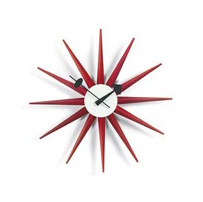 George Nelson Sunburst Clock in Red - G81319R