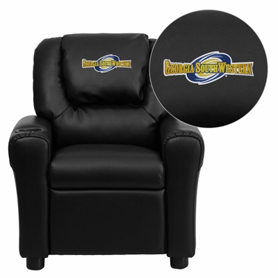 Georgia Southwestern State University Hurricanes Embroidered Black Vinyl Kids Recliner - DG-ULT-KID-BK-41036-EMB-GG