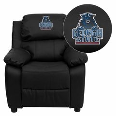 Georgia State University Panthers Embroidered Black Leather Kids Recliner - BT-7985-KID-BK-LEA-40013-EMB-GG