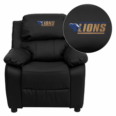 Georgian Court University Lions Black Leather Kids Recliner - BT-7985-KID-BK-LEA-41035-EMB-GG