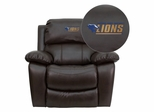 Georgian Court University Lions Leather Rocker Recliner - MEN-DA3439-91-BRN-41035-EMB-GG