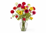 Gerber and Ranunclus Liquid Illusion Silk Flower Arrangement in Mixed - Nearly Natural - 1102
