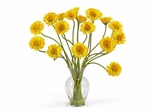 Gerber Daisy Liquid Illusion Silk Flower Arrangement in Yellow - Nearly Natural - 1086-YL