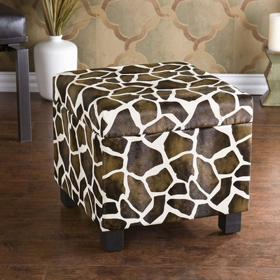 SEI Giraffe Faux Leather Storage Ottoman