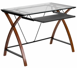 Glass Computer Desk with Criss Cross Cherry Finished Leg - NAN-JN-2824S-GG