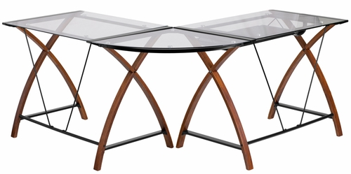 Glass L-Shape Desk - NAN-JN-2824SL-COMBO-GG