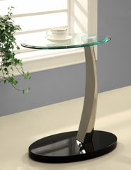Glass Oval Chairside Table - Powell Furniture - 317-892