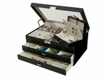 Glass Top Locking Jewelry Box in Black Croco Faux Leather - Alana - Jewelry Boxes by Mele - 0063462M