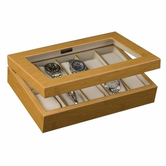 Glass Top Watch Box in Bamboo - Logan - Jewelry Boxes by Mele - 00231S11