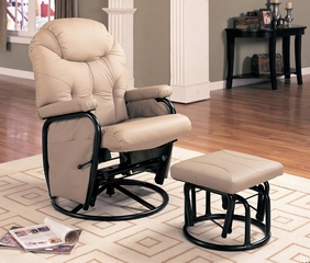 Glider Rocker with Ottoman in Beige Leatherette - Coaster
