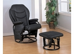 Glider Rocker with Round Base Ottoman in Black Leatherette - Coaster