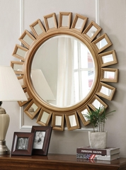 Gold Sunburst Mirror with Silver Trim - 901772