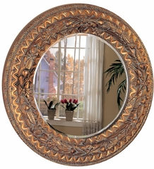 Golden Beveled Round Wall Mirror - 900208