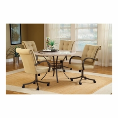 Golden Bronze Harbour Point 5Pc Round Dining Set With Caster Chair - Hillsdale