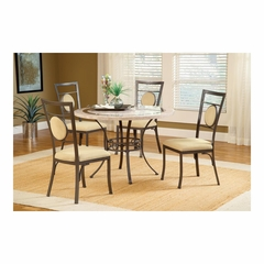 Golden Bronze Harbour Point 5Pc Round Dining Set With Metal Oval Chair - Hillsdale