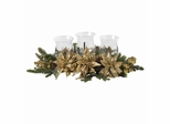 Golden Poinsettia Triple Candleabrum - Nearly Natural - 4913