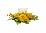 Golden Sunflower Candleabrum Silk Flower Arrangement - Nearly Natural - 4905