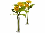 Golden Sunflower with Bud Vase (Set of 2) - Nearly Natural - 4766