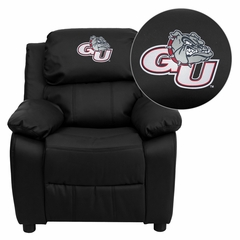 Gonzaga University Bulldogs Black Leather Kids Recliner - BT-7985-KID-BK-LEA-40014-EMB-GG