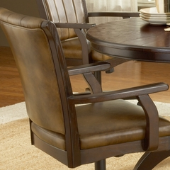 Grand Bay 5-Piece Round Dining Set with Caster Chairs in Cherry - Hillsdale Furniture - 4379DTBRDCC