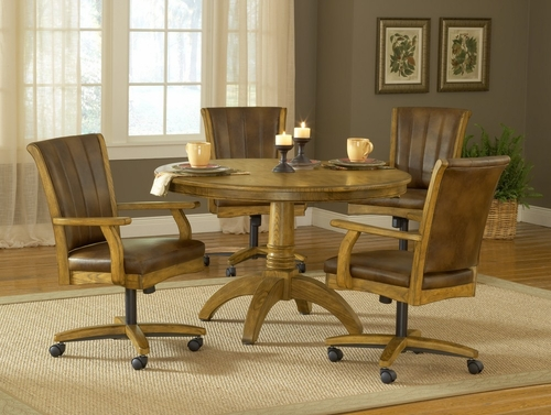 Grand Bay 5-Piece Round Dining Set with Caster Chairs in Medium Oak - Hillsdale Furniture - 4337DTBRDCC
