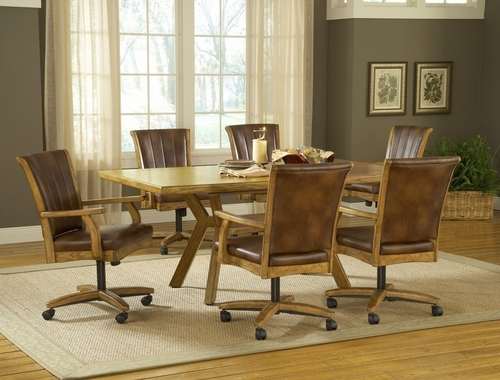 Grand Bay 7-Piece Rectangle Dining Set with Caster Chairs in Medium Oak - Hillsdale Furniture - 4337DTBRTCC7