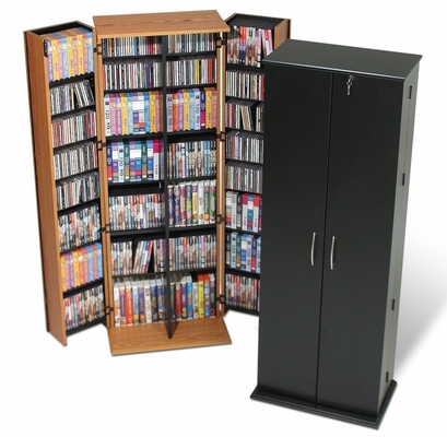 Grande Tall Locking Media Storage Cabinet in Oak/Black - Prepac Furniture - OVS-0287