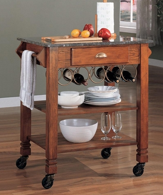 Granite Top Kitchen Cart with Wine Storage in Oak - 910009