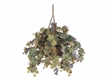 Grape Leaf Hanging Basket Silk Plant in Green - Nearly Natural - 6026