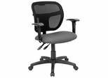 Gray Fabric and Mesh Task Chair with Arms - WL-A7671SYG-GY-A-GG
