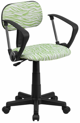 Green & White Zebra Print Computer Chair - BT-Z-GN-A-GG