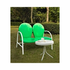 Griffith 2 Piece Metal Outdoor Conversation Set - Grasshopper Green Loveseat and Side Table - CROSLEY-KO10006GR