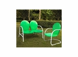 Griffith 2 Piece Metal Outdoor Conversation Set - Loveseat and Chair in Grasshopper Green - CROSLEY-KO10005GR