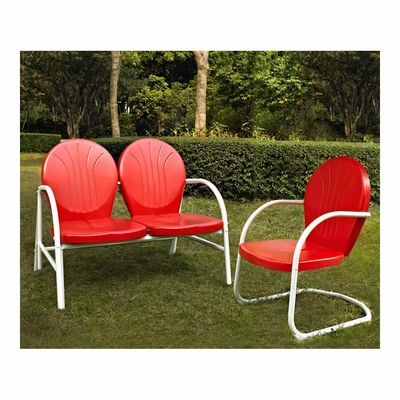 Griffith 2 Piece Metal Outdoor Conversation Set - Loveseat and Chair in Red - CROSLEY-KO10005RE