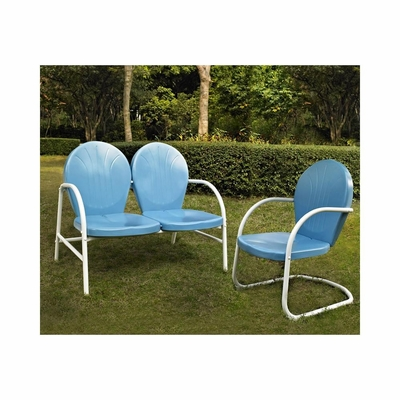 Griffith 2 Piece Metal Outdoor Conversation Set - Loveseat and Chair in Sky Blue - CROSLEY-KO10005BL