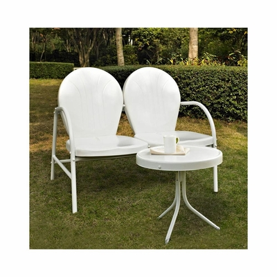 Griffith 2 Piece Metal Outdoor Conversation Set - Loveseat and Table in White - CROSLEY-KO10006WH